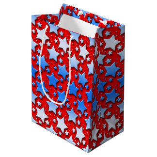 Sacola Para Presentes Média Estrelas brancas azuis no vermelho