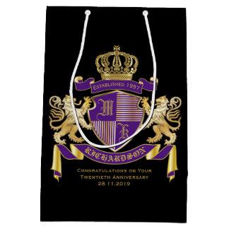 Sacola Para Presentes Média Faça seu próprio emblema da coroa do monograma da