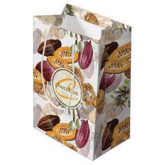 Sacola Para Presentes Média Feijões de cacau, flores do chocolate, os