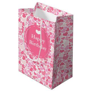 Sacola Para Presentes Média Feliz aniversario - os corações cor-de-rosa