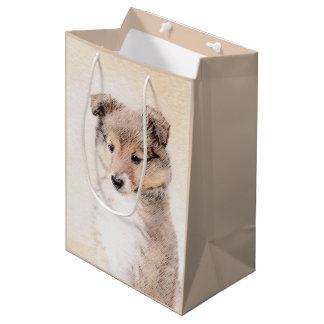 Sacola Para Presentes Média Filhote de cachorro do Sheepdog de Shetland