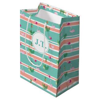 Sacola Para Presentes Média Flamingo tropical personalizado Giftbag