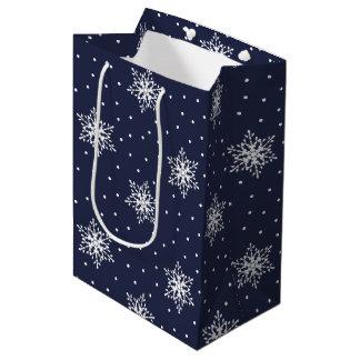 Sacola Para Presentes Média Flocos de neve brancos com as bolinhas em azuis