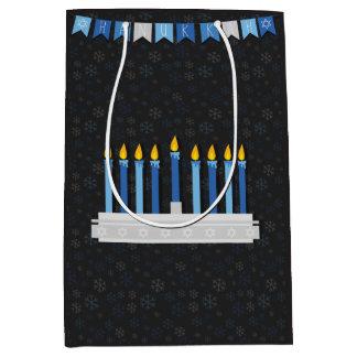 Sacola Para Presentes Média Flocos de neve de Hanukkah do quadro