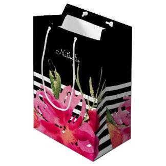 Sacola Para Presentes Média Flores do fúcsia do preto | que Wedding as bolsas