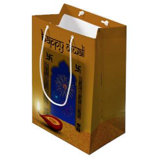 Sacola Para Presentes Média Fogos-de-artifício felizes festivos de Diwali -