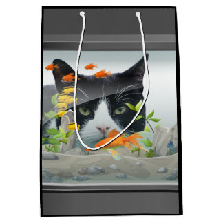 Sacola Para Presentes Média Gato que espreita no aquário