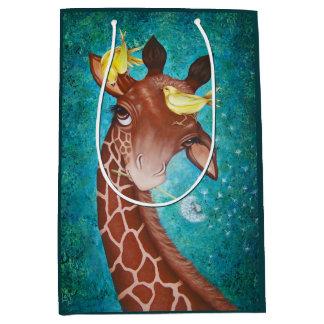 Sacola Para Presentes Média Girafa bonito com pássaros