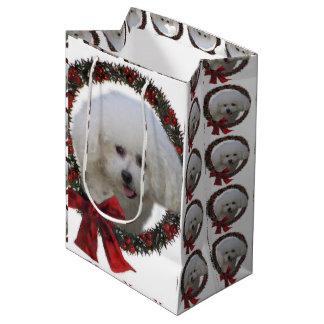 Sacola Para Presentes Média Grinalda do Natal de Bichon Frise