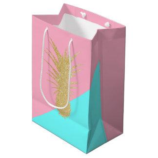 Sacola Para Presentes Média hortelã elegante do rosa do abacaxi do brilho do