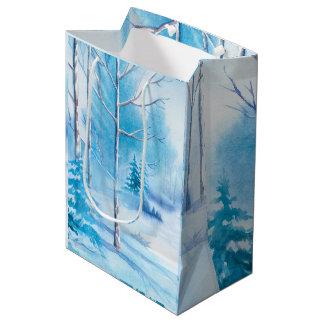 Sacola Para Presentes Média Ilustração das aguarelas da paisagem do inverno