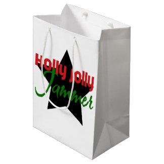 Sacola Para Presentes Média Jammer alegre do azevinho, Natal de patinagem de