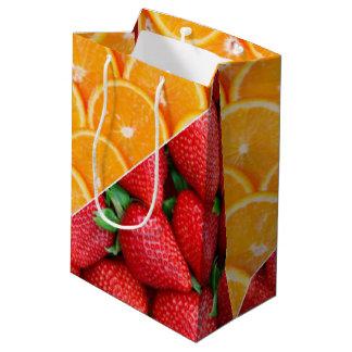 Sacola Para Presentes Média Laranjas & colagem das morangos