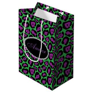 Sacola Para Presentes Média Leopardo verde & roxo, diamantes & monograma