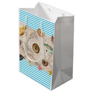 Sacola Para Presentes Média Listras azuis do tesouro marinho