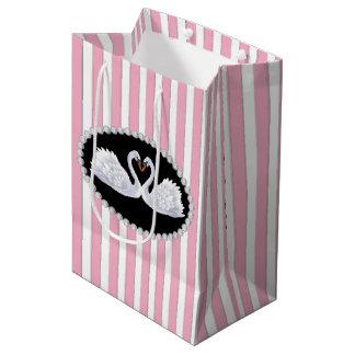 Sacola Para Presentes Média Listras, diamantes & saco cor-de-rosa elegantes