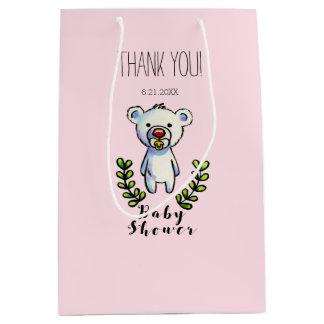 Sacola Para Presentes Média Listras do rosa da ilustração da aguarela do urso