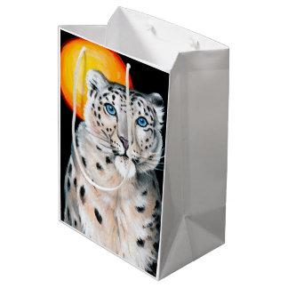 Sacola Para Presentes Média Lua do leopardo de neve