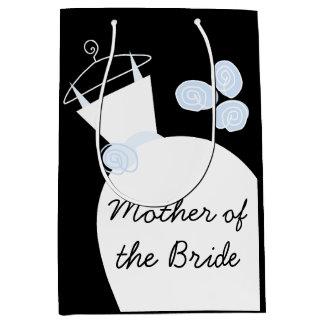 Sacola Para Presentes Média Mãe azul do vestido de casamento do meio do preto