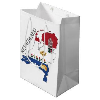 Sacola Para Presentes Média Mapa e bandeira dos Países Baixos