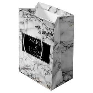 Sacola Para Presentes Média Mármore branco elegante com preto