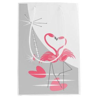 Sacola Para Presentes Média Meio da lua do amor do flamingo grande