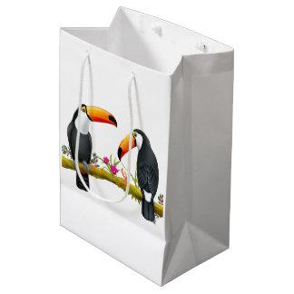 Sacola Para Presentes Média Meio tropical do saco do presente dos pássaros de
