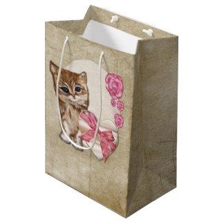 Sacola Para Presentes Média Meios mistos do Victorian dos namorados do gatinho