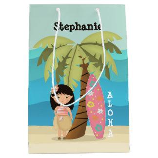 Sacola Para Presentes Média Menina havaiana do surfista