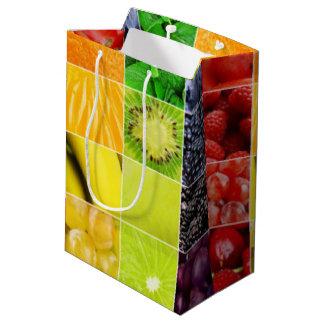 Sacola Para Presentes Média Multi colagem colorida da fruta