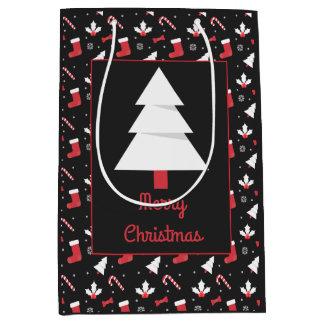 Sacola Para Presentes Média Natal branco do quadro da árvore