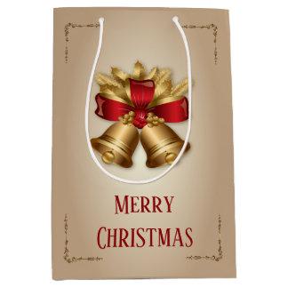 Sacola Para Presentes Média Natal de Bels douradas