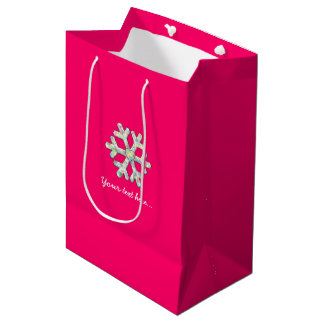 Sacola Para Presentes Média Natal do rosa do floco de neve do rosa quente