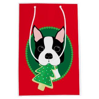 Sacola Para Presentes Média Natal lunático de Boston Terrier