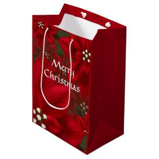 Sacola Para Presentes Média Natal vermelho MGB da poinsétia