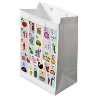 Sacola Para Presentes Média O alfabeto de ABC que aprende alimentos felizes