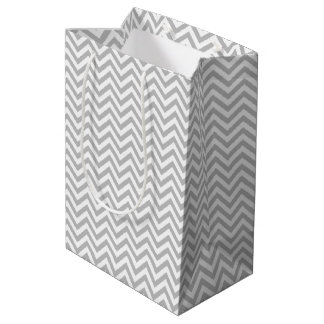 Sacola Para Presentes Média O ziguezague cinzento e branco listra o teste