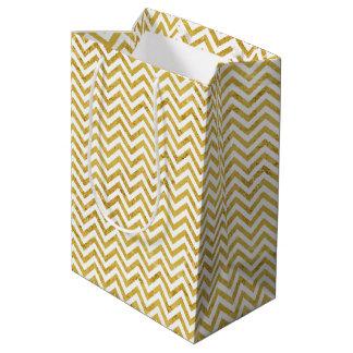 Sacola Para Presentes Média O ziguezague elegante da folha de ouro listra o