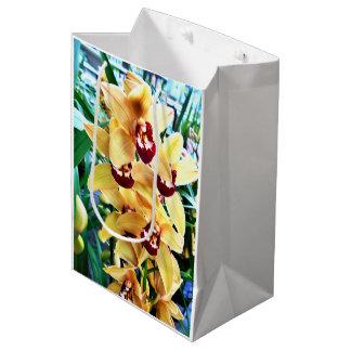 Sacola Para Presentes Média Orquídeas amarelas do Cymbidium