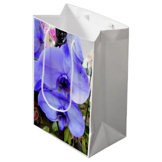 Sacola Para Presentes Média Orquídeas azuis
