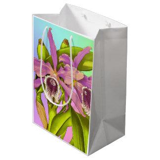 Sacola Para Presentes Média Orquídeas cor-de-rosa coloridas