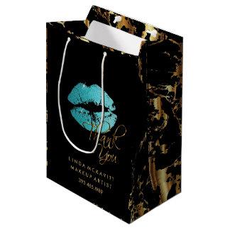 Sacola Para Presentes Média Os lábios do brilho da cerceta e mármore azuis do