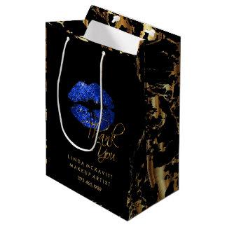 Sacola Para Presentes Média Os lábios do brilho e mármore azuis do ouro -