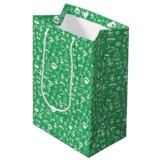 Sacola Para Presentes Média Papai noel verde do boneco de neve do duende do