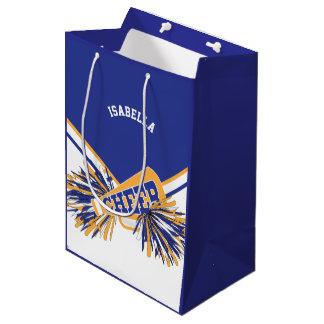 Sacola Para Presentes Média Para cheerleaderes - branco, azul e ouro