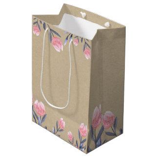 Sacola Para Presentes Média Partido de chá de panela das tulipas da aguarela