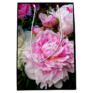 Sacola Para Presentes Média Peônias cor-de-rosa e brancas