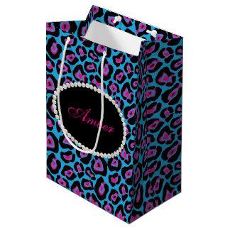 Sacola Para Presentes Média Pérolas azuis & cor-de-rosa do impressão do