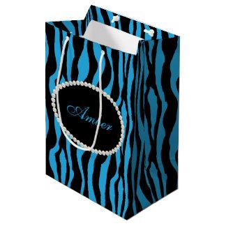 Sacola Para Presentes Média Pérolas azuis do impressão da zebra & monograma