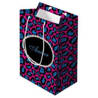 Sacola Para Presentes Média Pérolas cor-de-rosa & azuis do impressão do